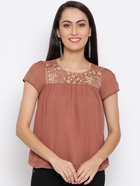 DRAAX fashions | DRAAX FASHIONS Women Brown Solid A-Line Flare Top