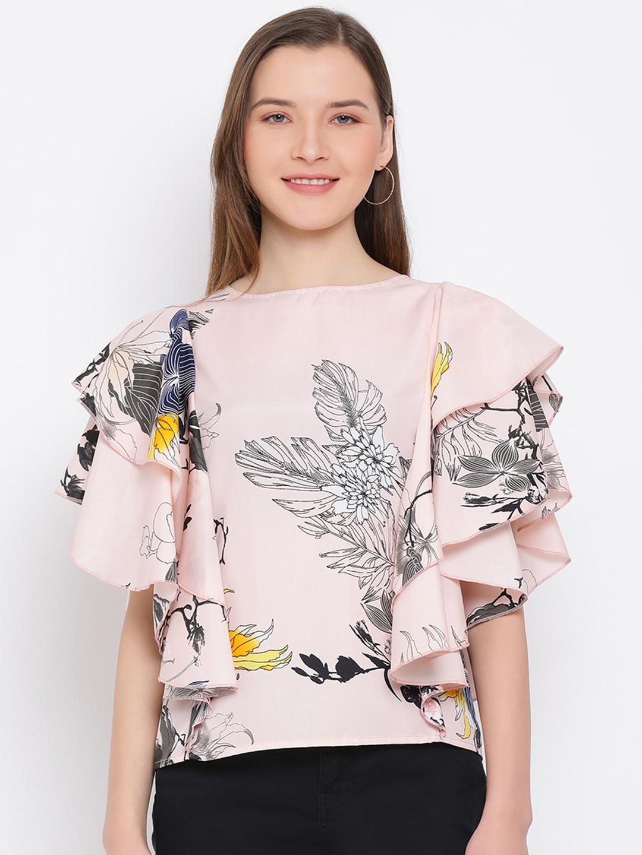 DRAAX fashions | DRAAX FASHIONS Women Peach printed Cinched  Top