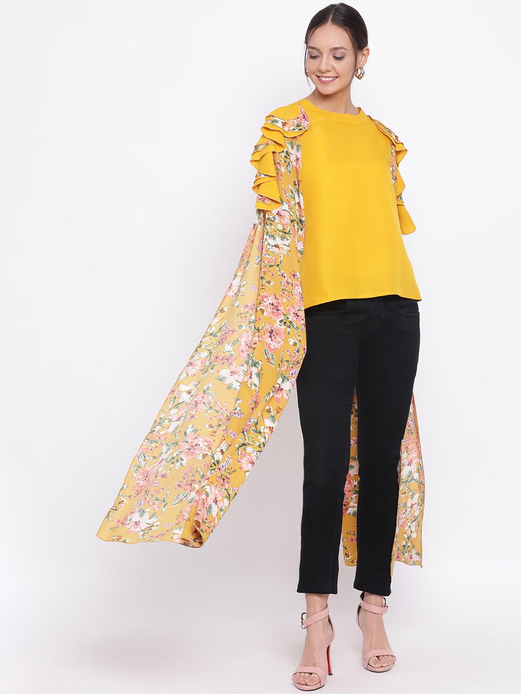 DRAAX fashions | DRAAX FASHIONS Women Mustard floral Layered Cape Top