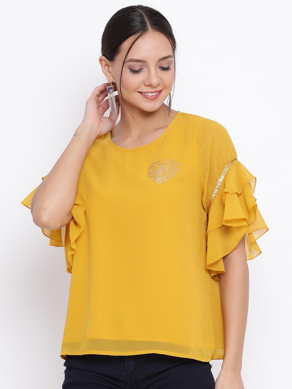 DRAAX fashions   DRAAX FASHIONS Women Yellow Embellished Top