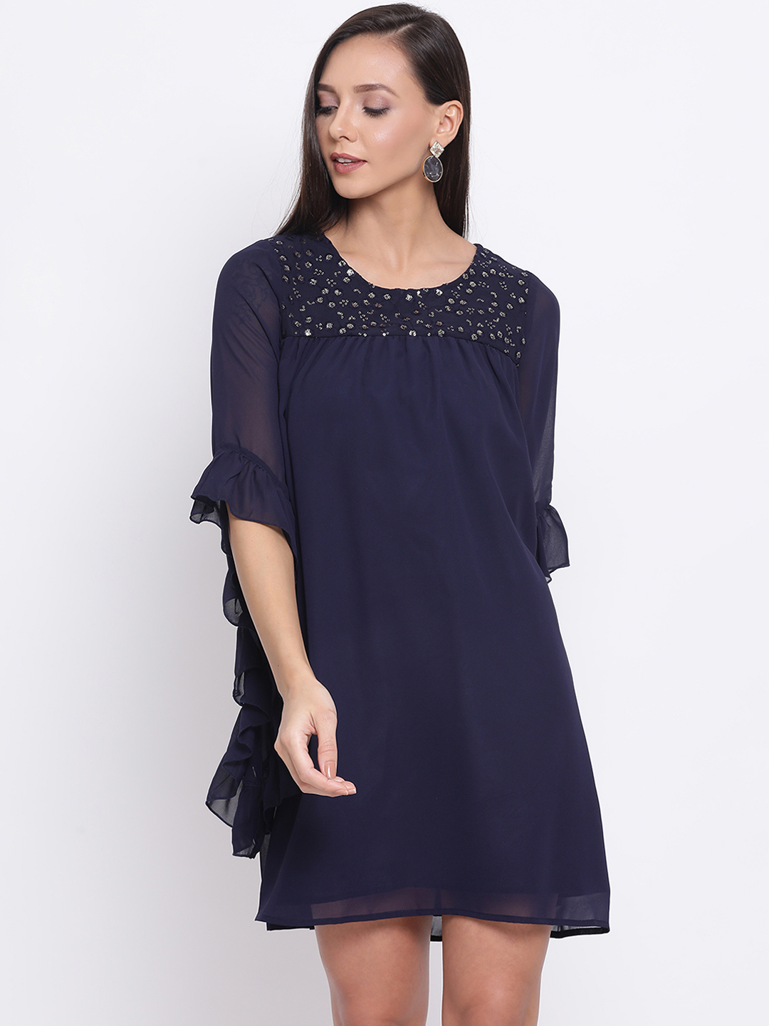 DRAAX fashions   DRAAX FASHIONS Women Blue Embellished Fit and Flare Dress