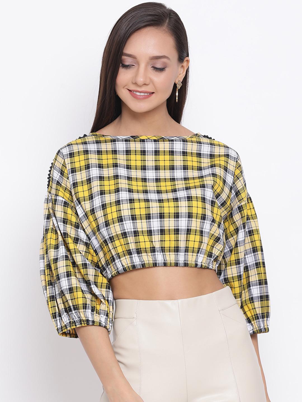 DRAAX fashions | DRAAX FASHIONS Women Yellow Check Blouson Crop Top