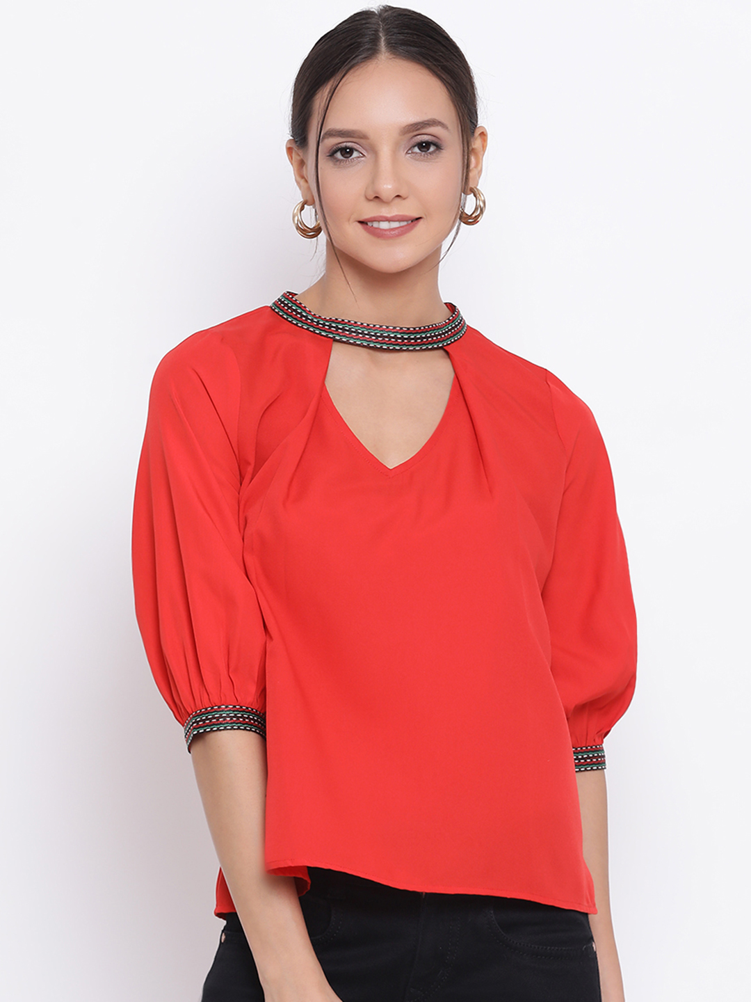 DRAAX fashions | DRAAX FASHIONS Women Red Solid Shimmery Top