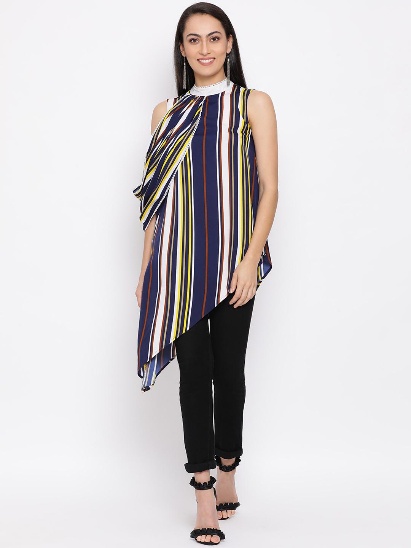 DRAAX fashions | DRAAX FASHIONS Women Blue striped Top with net Sleeves