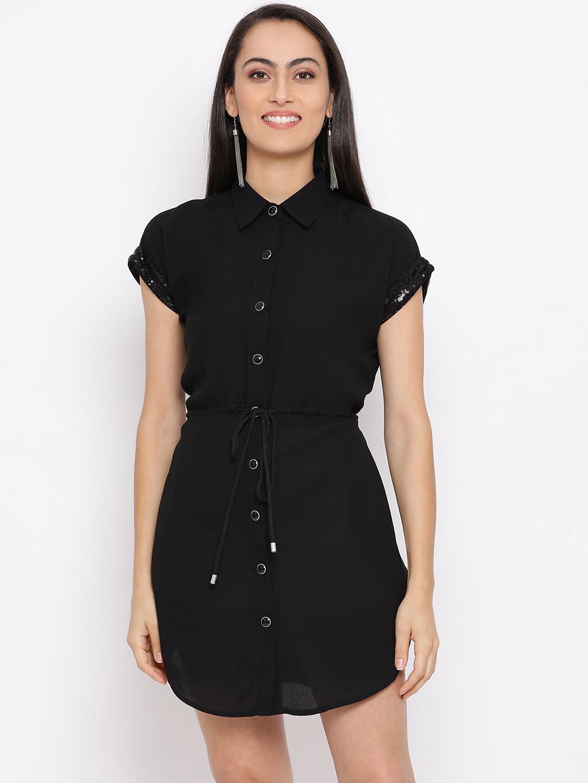 DRAAX fashions | DRAAX FASHIONS Women Black Solid A-Line Dress
