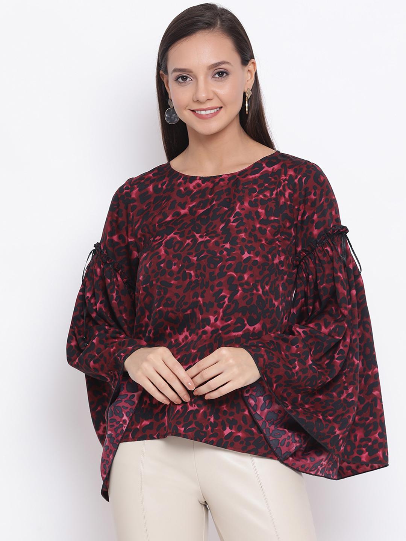 DRAAX fashions | DRAAX FASHIONS Women Black and Purple Printed Cinched Waist Top