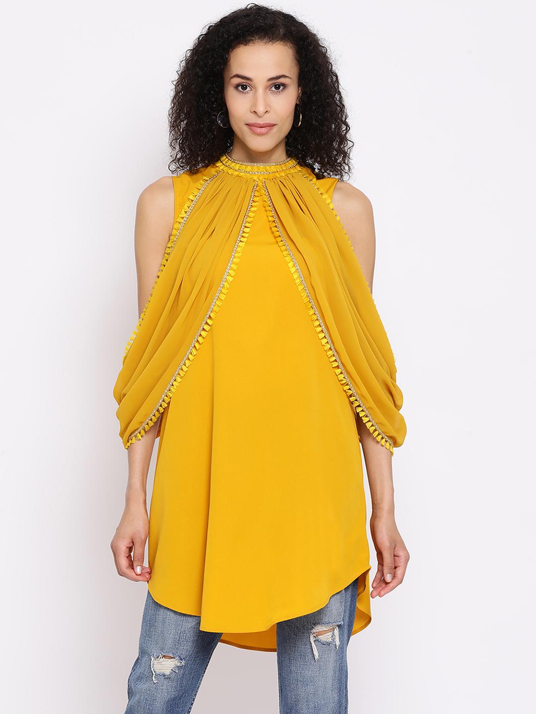 DRAAX fashions | DRAAX FASHIONS Women Yellow Chevron Lace Cape Top