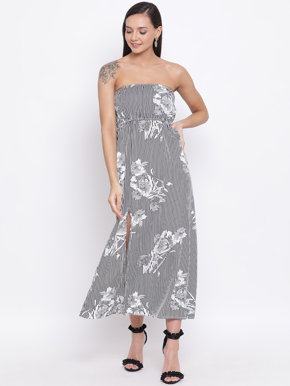 DRAAX fashions | DRAAX FASHIONS Women Black & white Printed Tube Maxi Dress