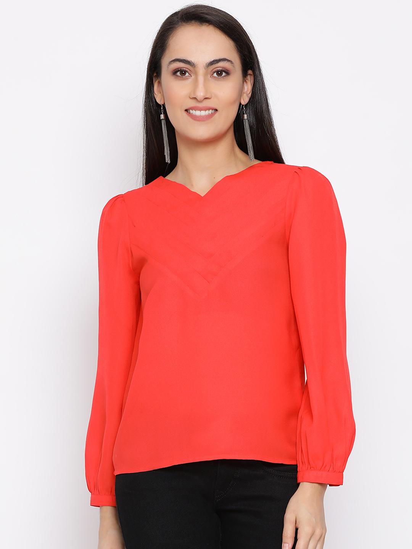 DRAAX fashions | DRAAX FASHIONS Women Red Solid Top
