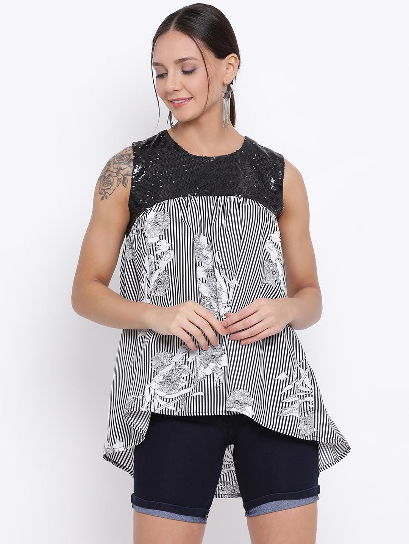 DRAAX fashions | DRAAX FASHIONS Women Black Floral Printed High-Low Top