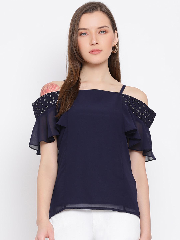 DRAAX fashions   DRAAX FASHIONS Women Blue Cinched Waist Top