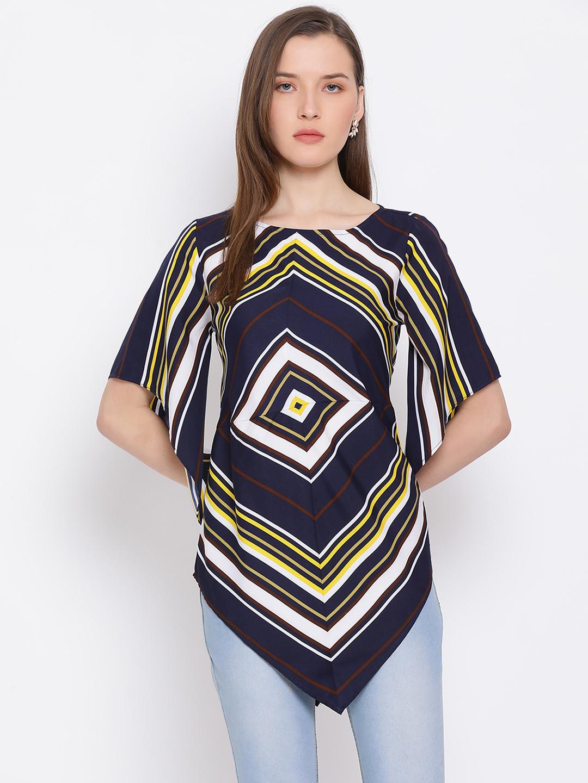 DRAAX fashions | DRAAX FASHIONS Women Blue Check Fitted Paplum Top
