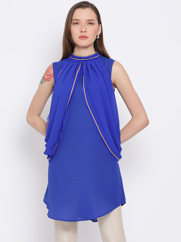 DRAAX fashions | DRAAX FASHIONS Women BlUE Self Design embellished Top