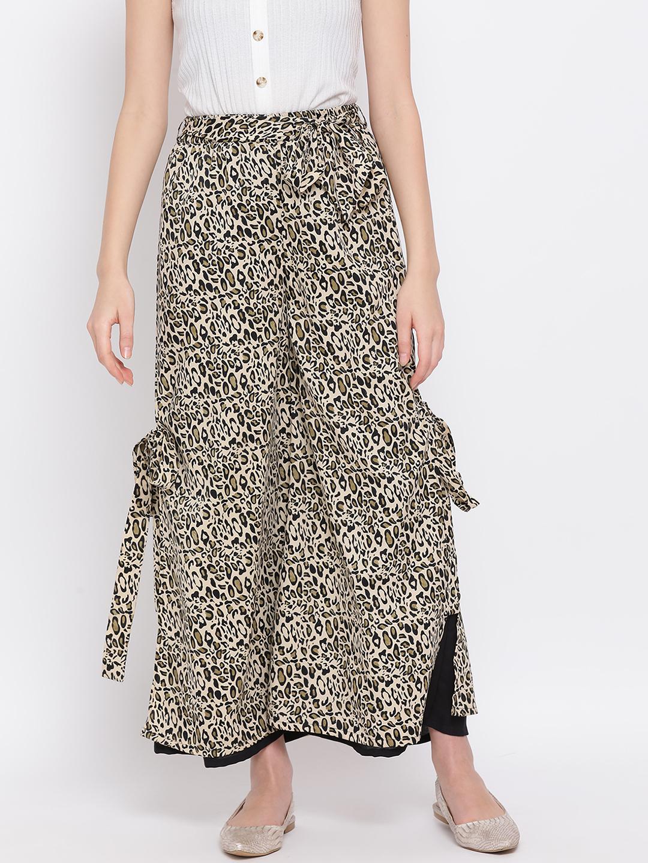 DRAAX fashions | DRAAX FASHIONS Women animal print  Solid Bardot Palazzo