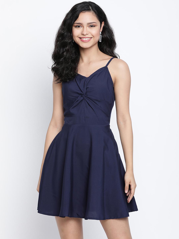 DRAAX fashions   DRAAX FASHIONS Women Blue Solid embellished Falre Dress
