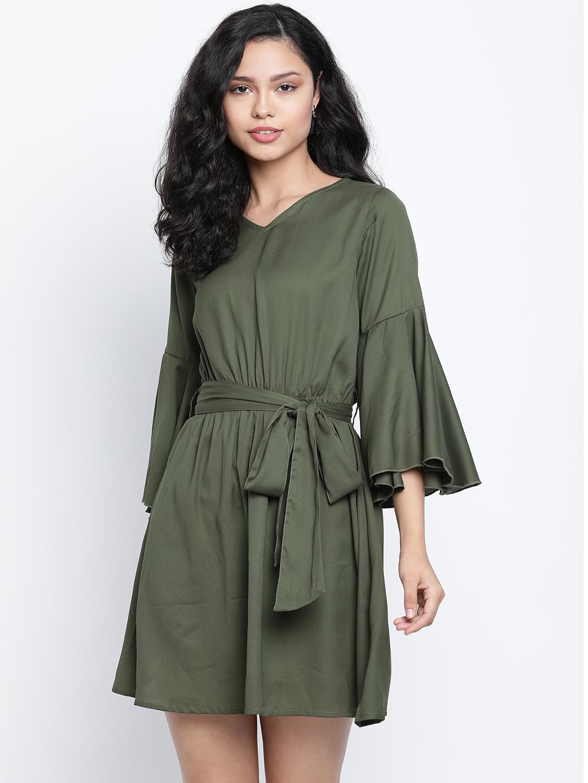 DRAAX fashions   DRAAX FASHIONS Women Turquoise green Solid Falre Dress