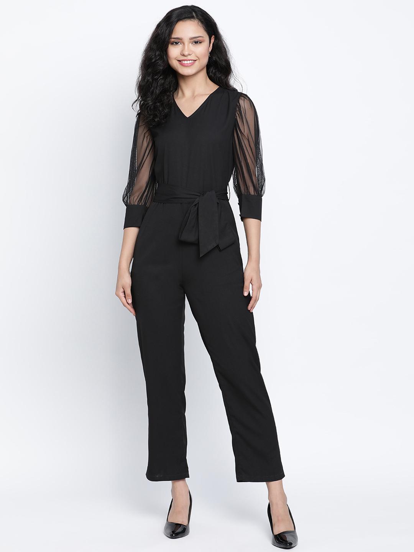 DRAAX fashions | DRAAX FASHIONS Women Black ballon net sleeve Jumpsuit