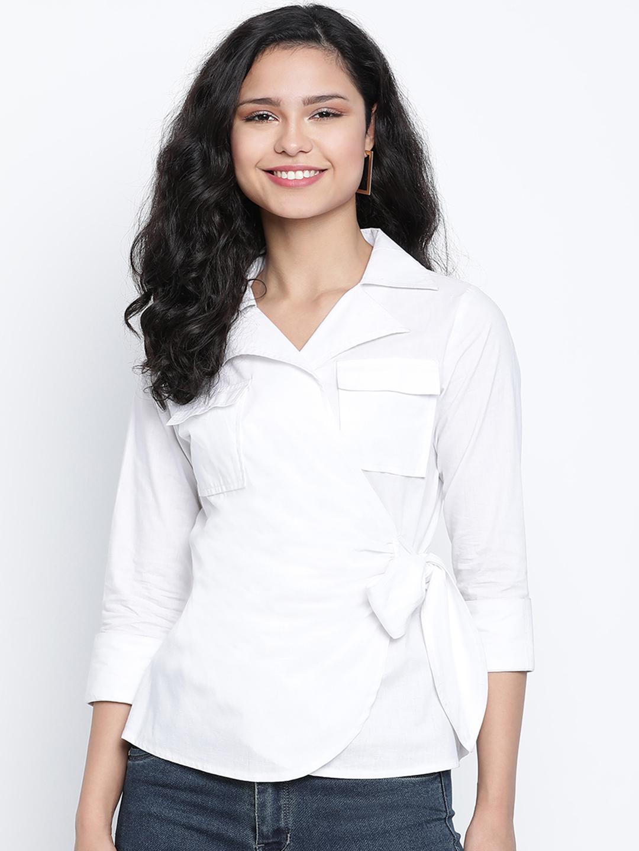 DRAAX fashions   DRAAX FASHIONS Women White Solid Top
