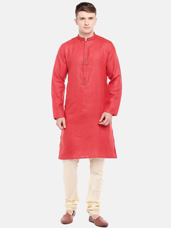 Ethnicity | Ethnicity Red Cotton Viscose Men Kurta