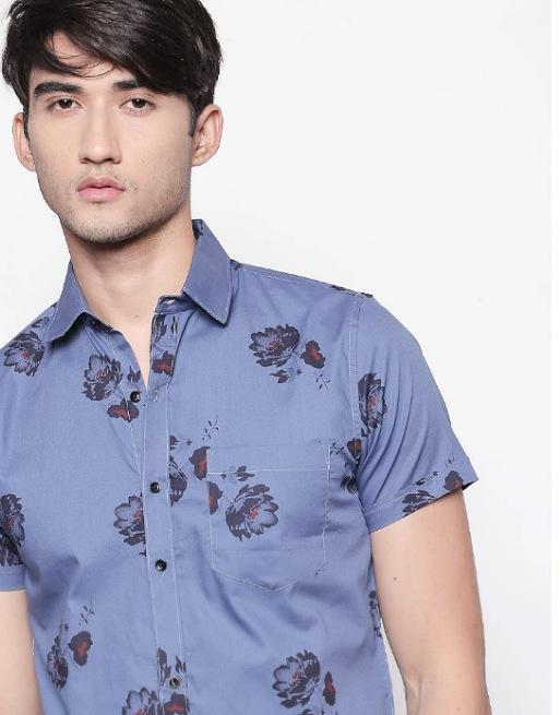 Hemsters | Hemsters Blue half-sleeve printed shirt for men