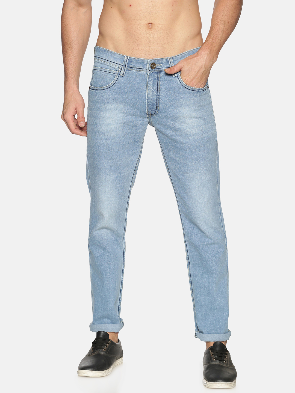 Chennis | Chennis Mens Cotton Slim Fit Casual Sky Blue Jeans