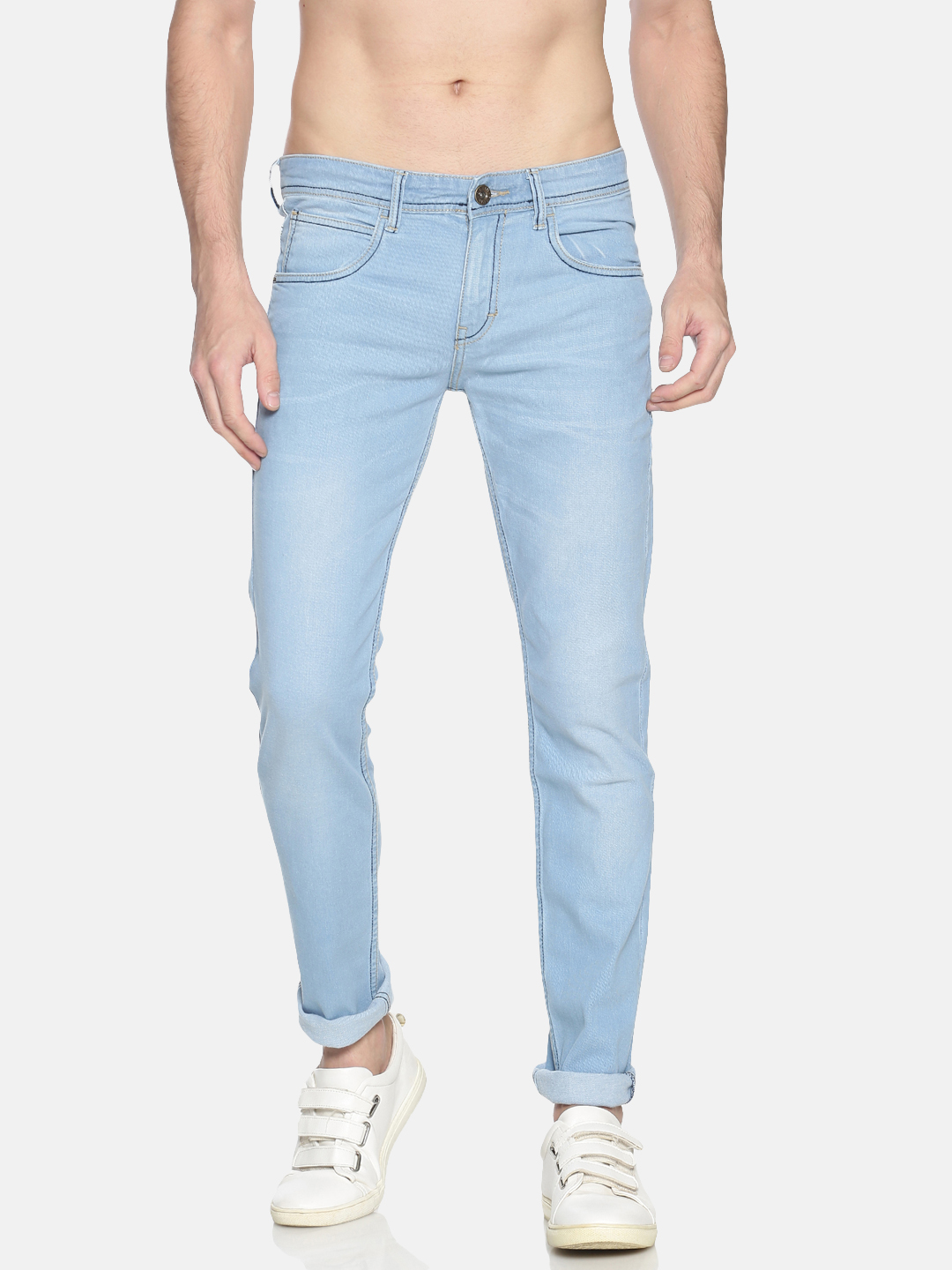 Chennis | Chennis Men's Casual Clean Look Jeans, Sky Blue