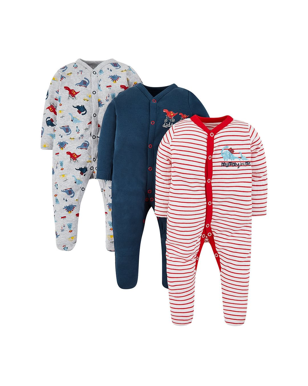 Mothercare | Red, Grey and Blue Printed Romper - Pack of 3