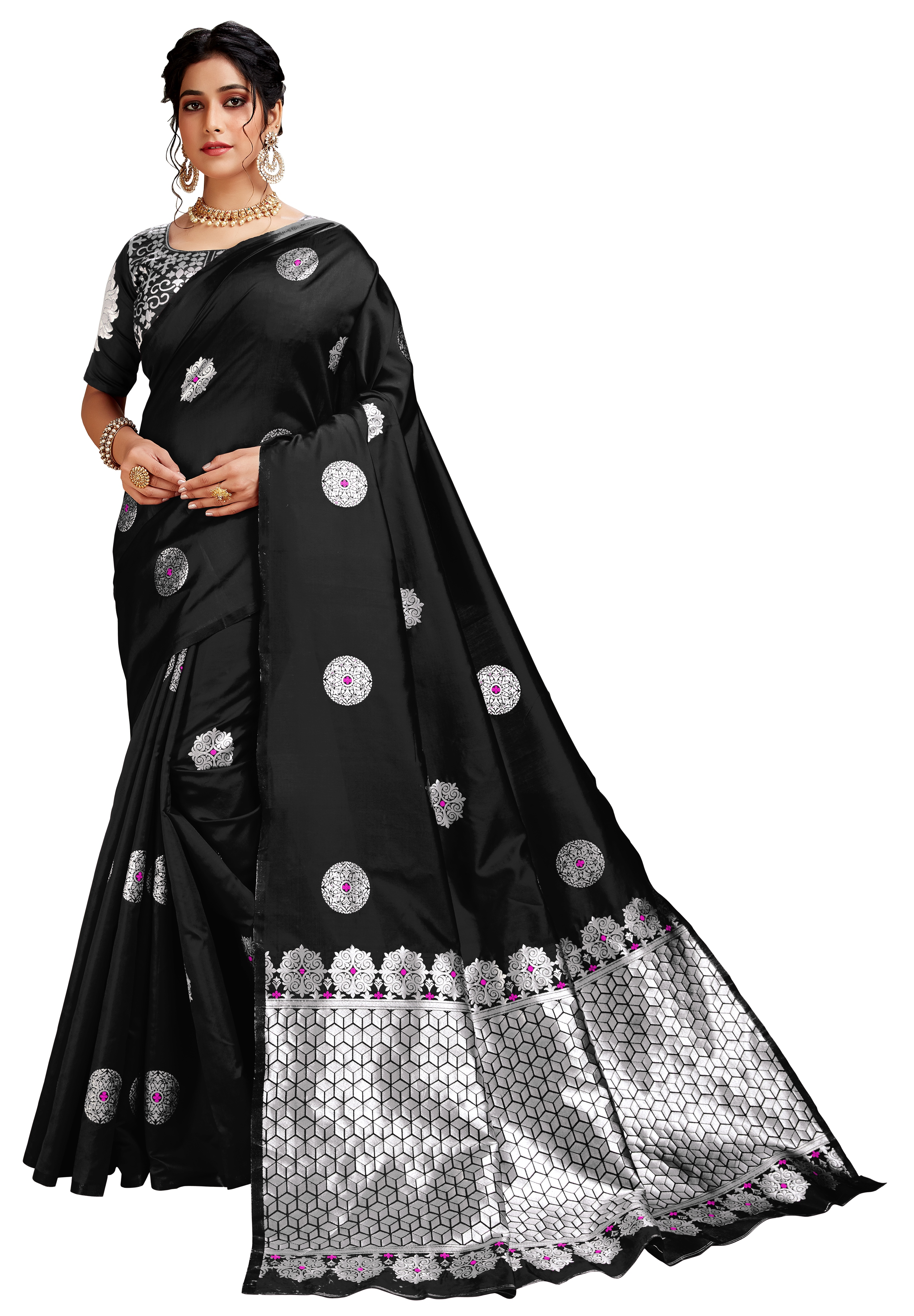Glemora | Glemora Black Lichi Silk Dhanashree Saree With Unstitched Blouse