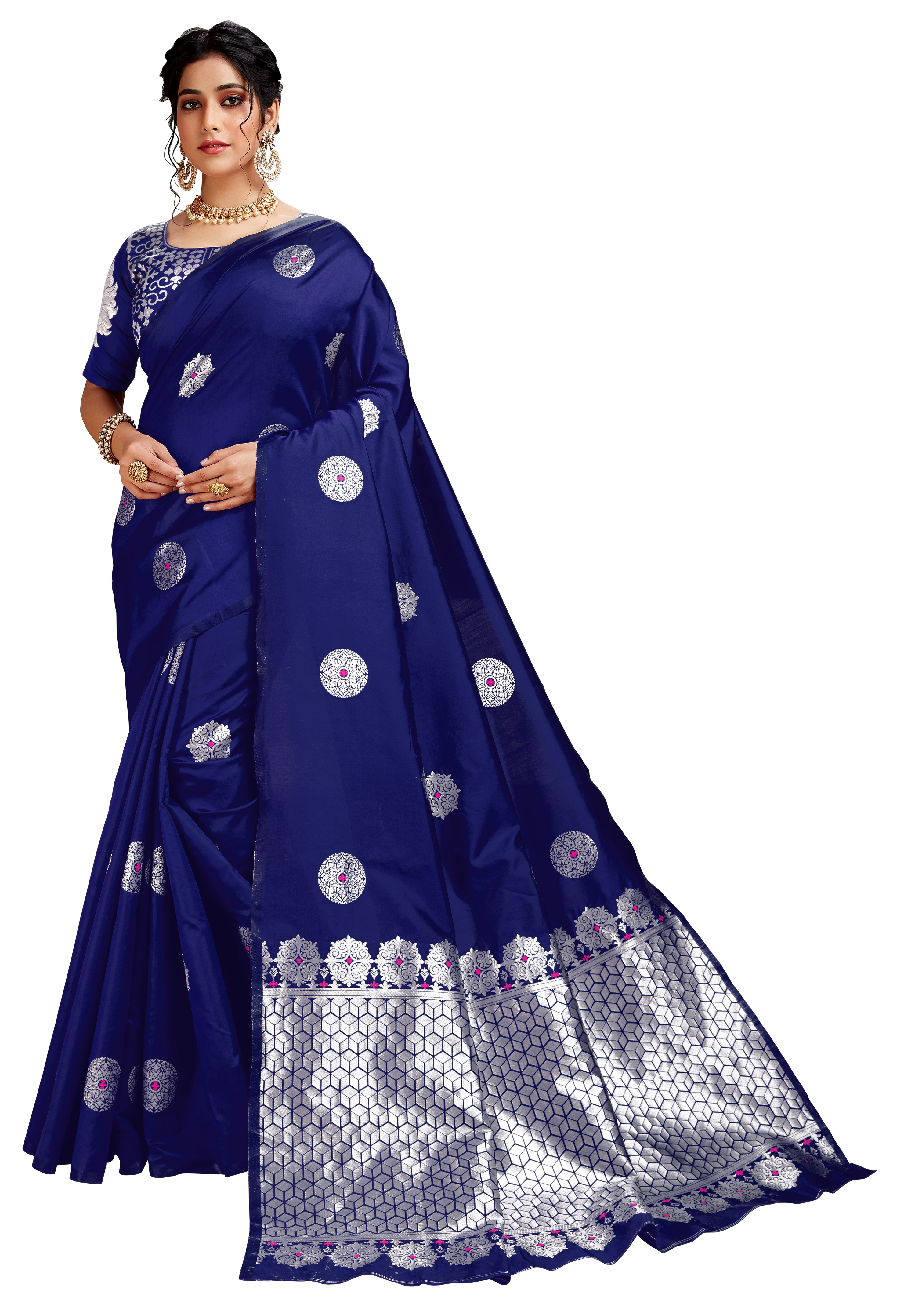 Glemora | Glemora Blue Lichi Silk Dhanashree Saree With Unstitched Blouse