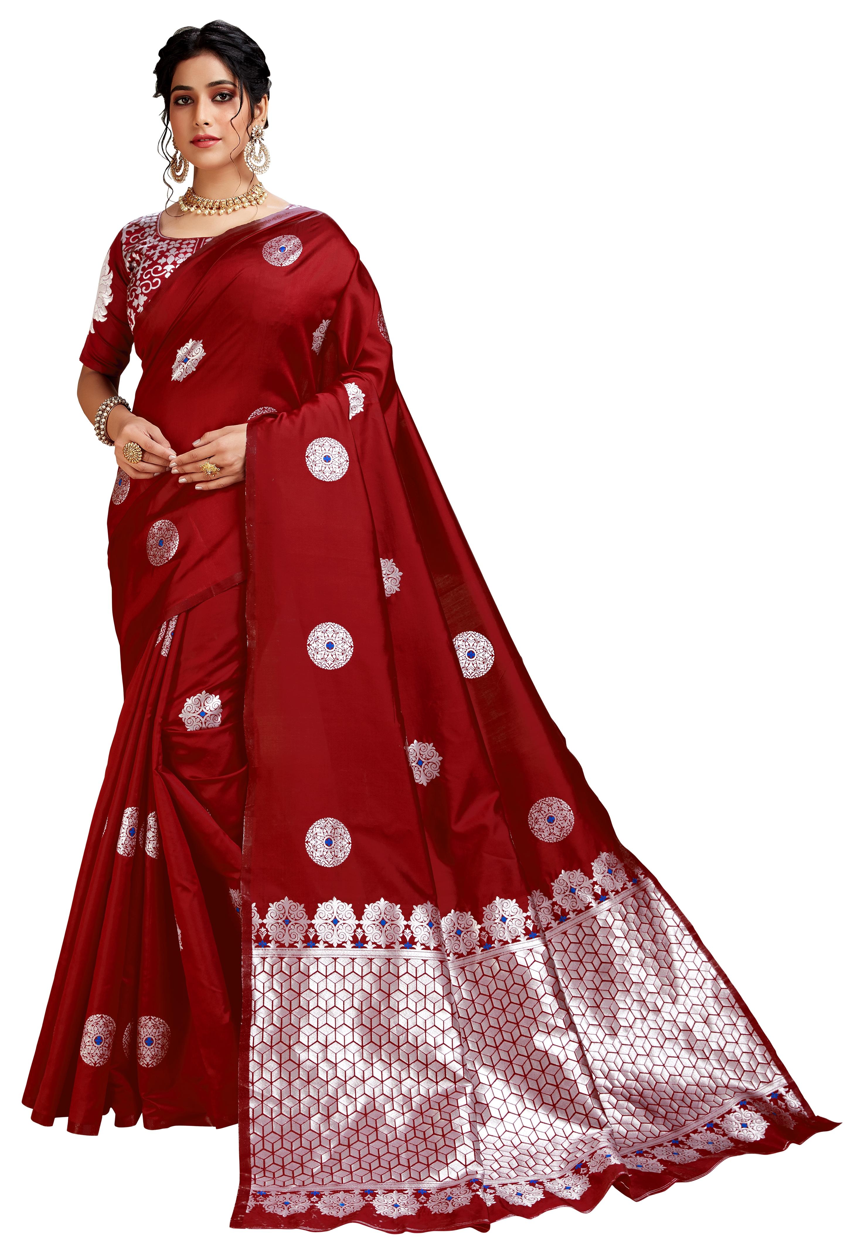 Glemora Red Lichi Silk Dhanashree Saree With Unstitched Blouse