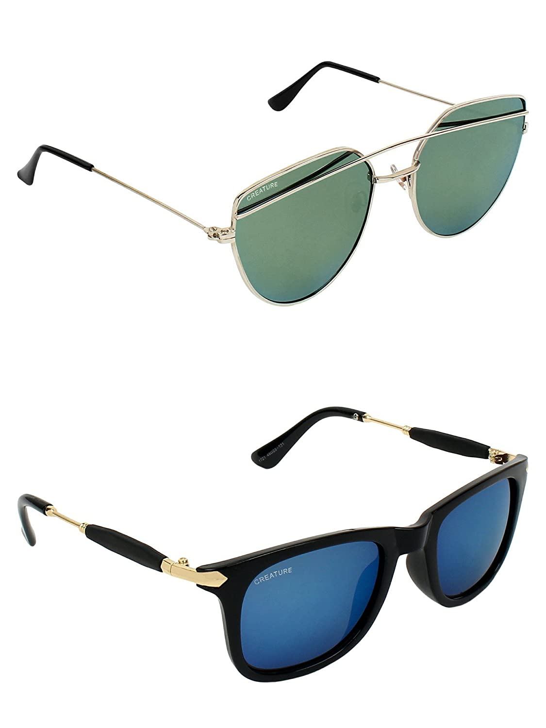 CREATURE   CREATURE Green & Blue Aviator Sunglasses Combo with UV Protection (Lens-Green & Blue Frame-Silver & Black)