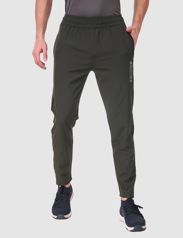 Fitinc | Fitinc NS Lycra Single Stripe Dark Grey Track Pant with Zipper Pockets