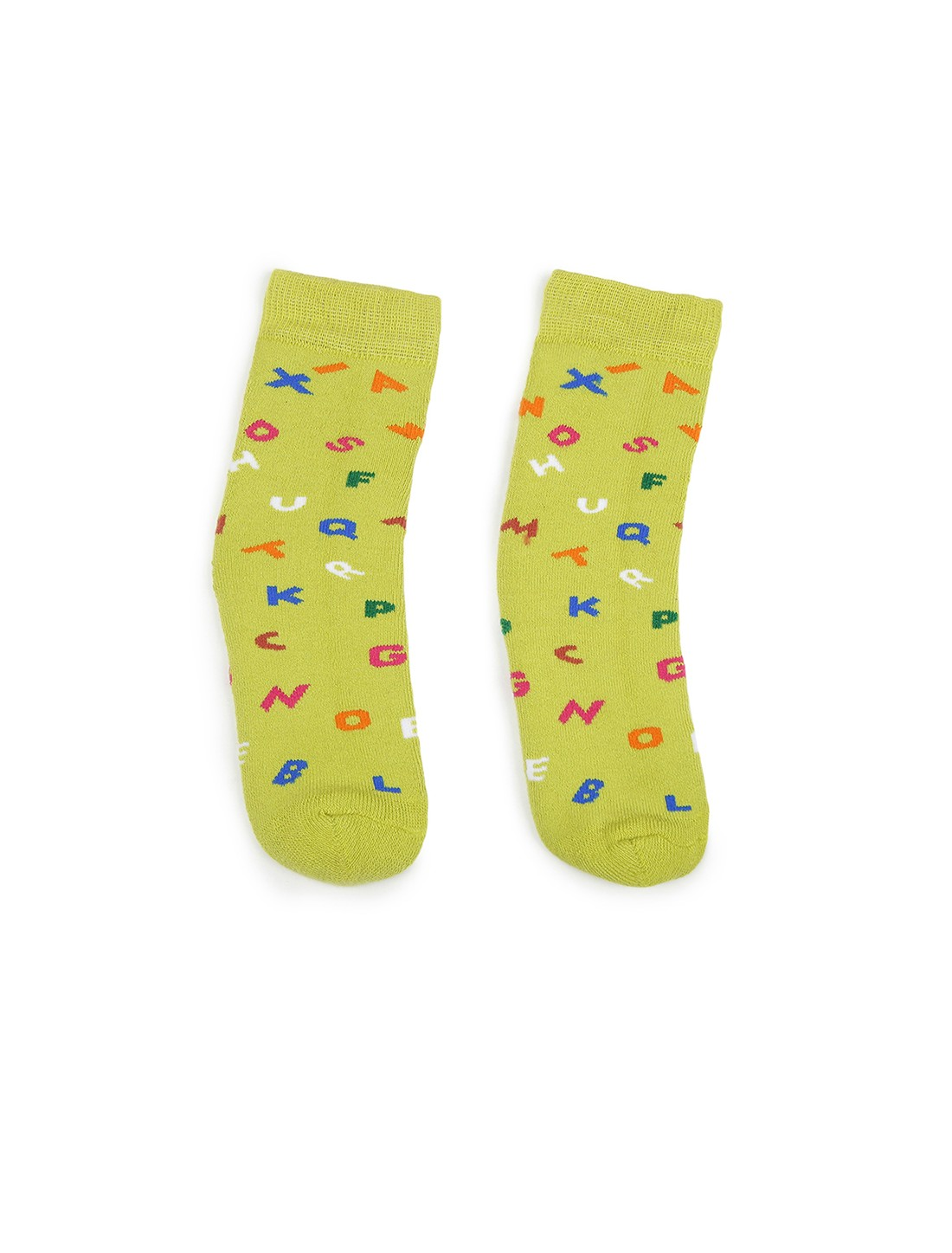 Soxytoes | Soxytoes Alphabet Cotton Crew Length Green Kids Socks-Age (4-8 Years)