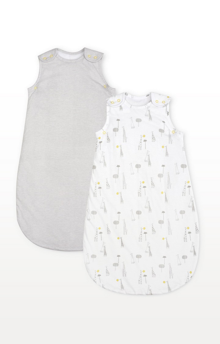 Mothercare | Mothercare Giraffe And Stripe 2.5 Tog Sleep Bags - 2 Pack 18-36 Months