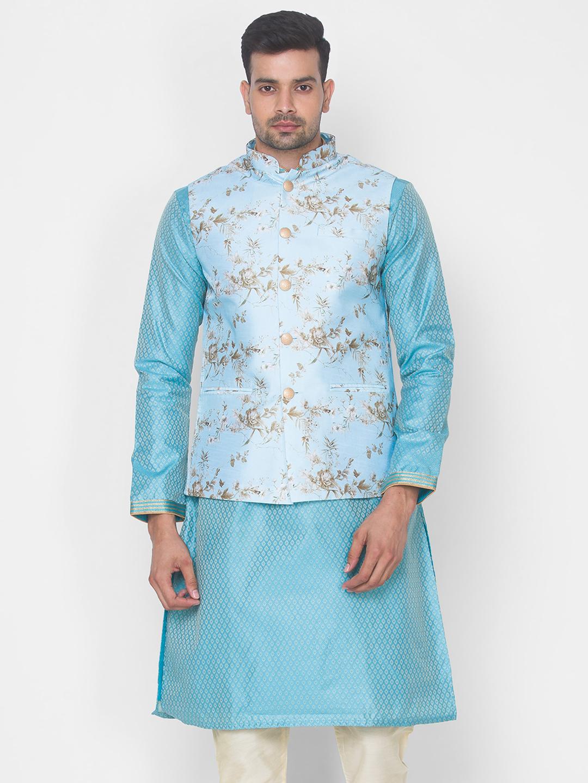 Ethnicity | Sky Blue Printed sleeveless jacket