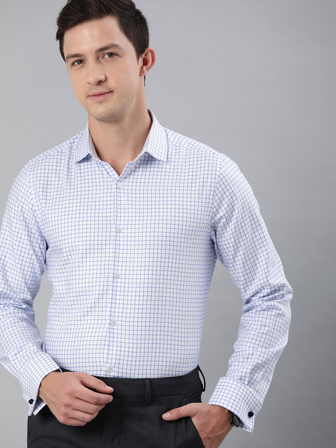 The Bear House | THE BEAR HOUSE Men White  Blue Slim Fit Checked French-Cuff Formal Shirt