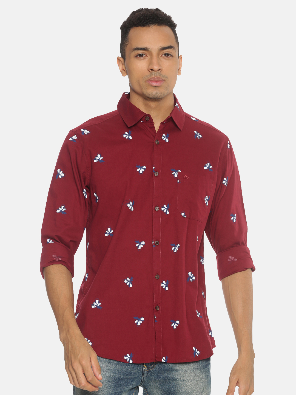 Chennis | Chennis Men's Casual Maroon Shirt