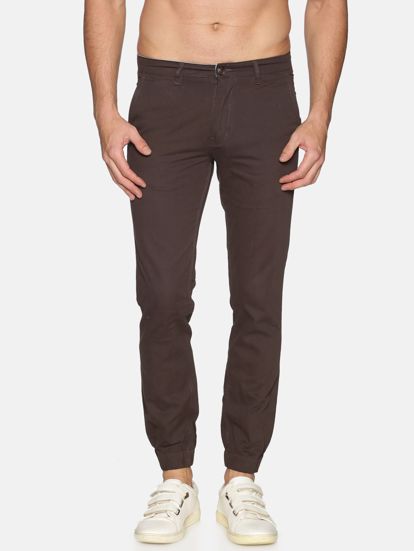 Chennis | Chennis Men Cotton Casual Brown  Trousers
