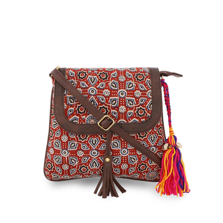 Vivinkaa | Vivinkaa Ethnic Print Red Sling Bag