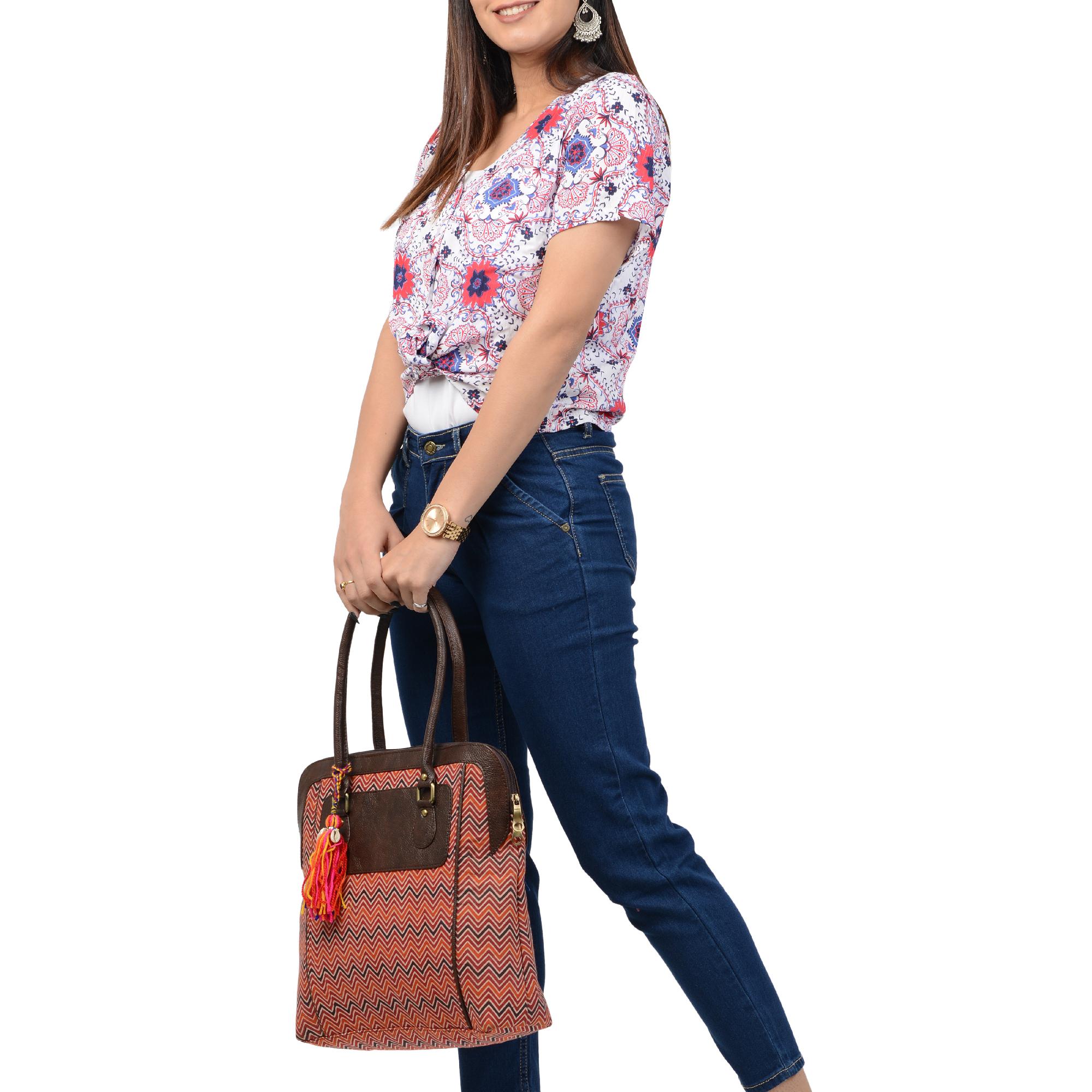 Vivinkaa | Vivinkaa Womens Ethnic Leatherette/Cotton Orange Leaf Tassle Tote Bag