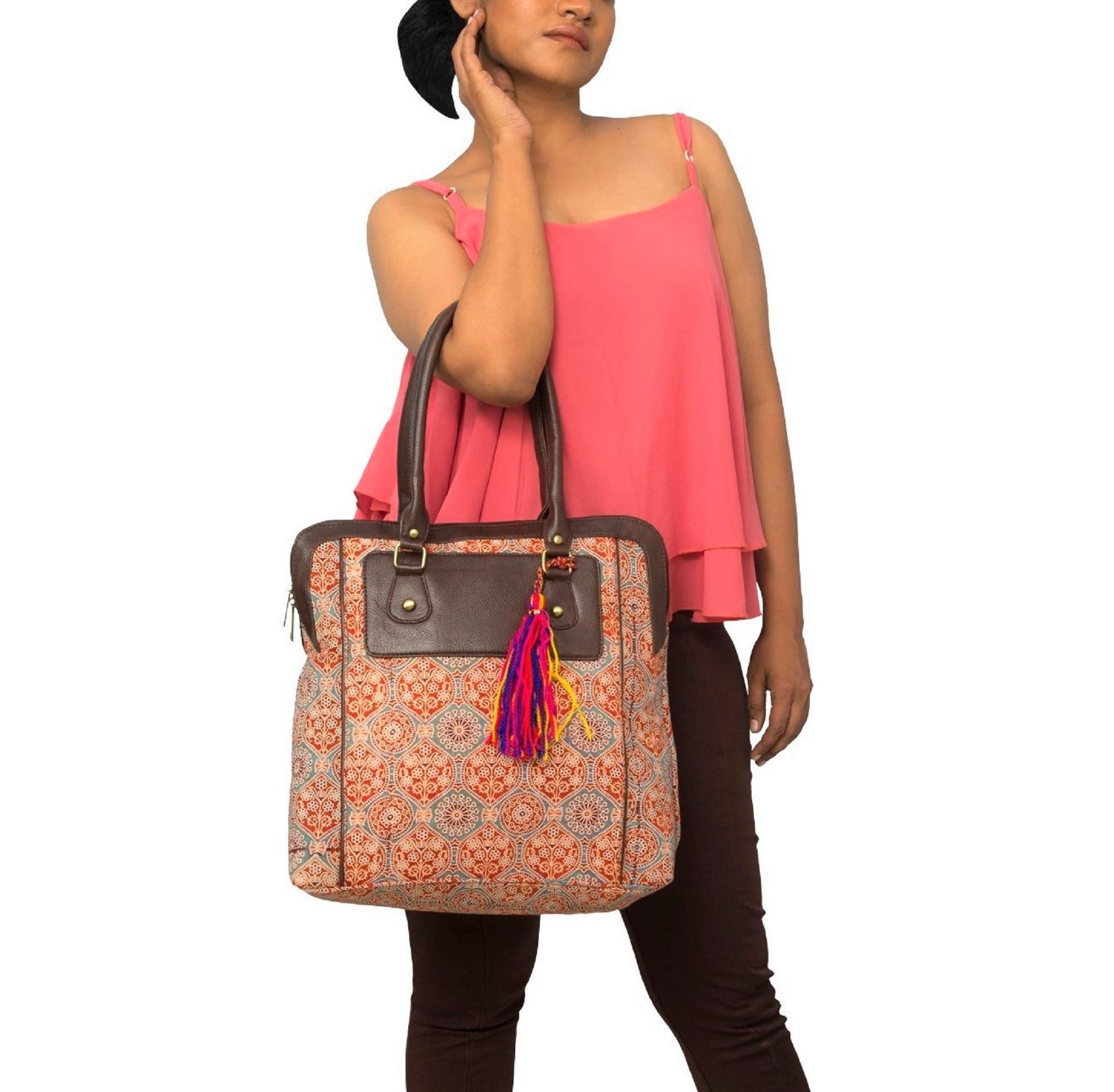 Vivinkaa | Vivinkaa ethnic faux leather cotton orange nice shoulder bag with tassle