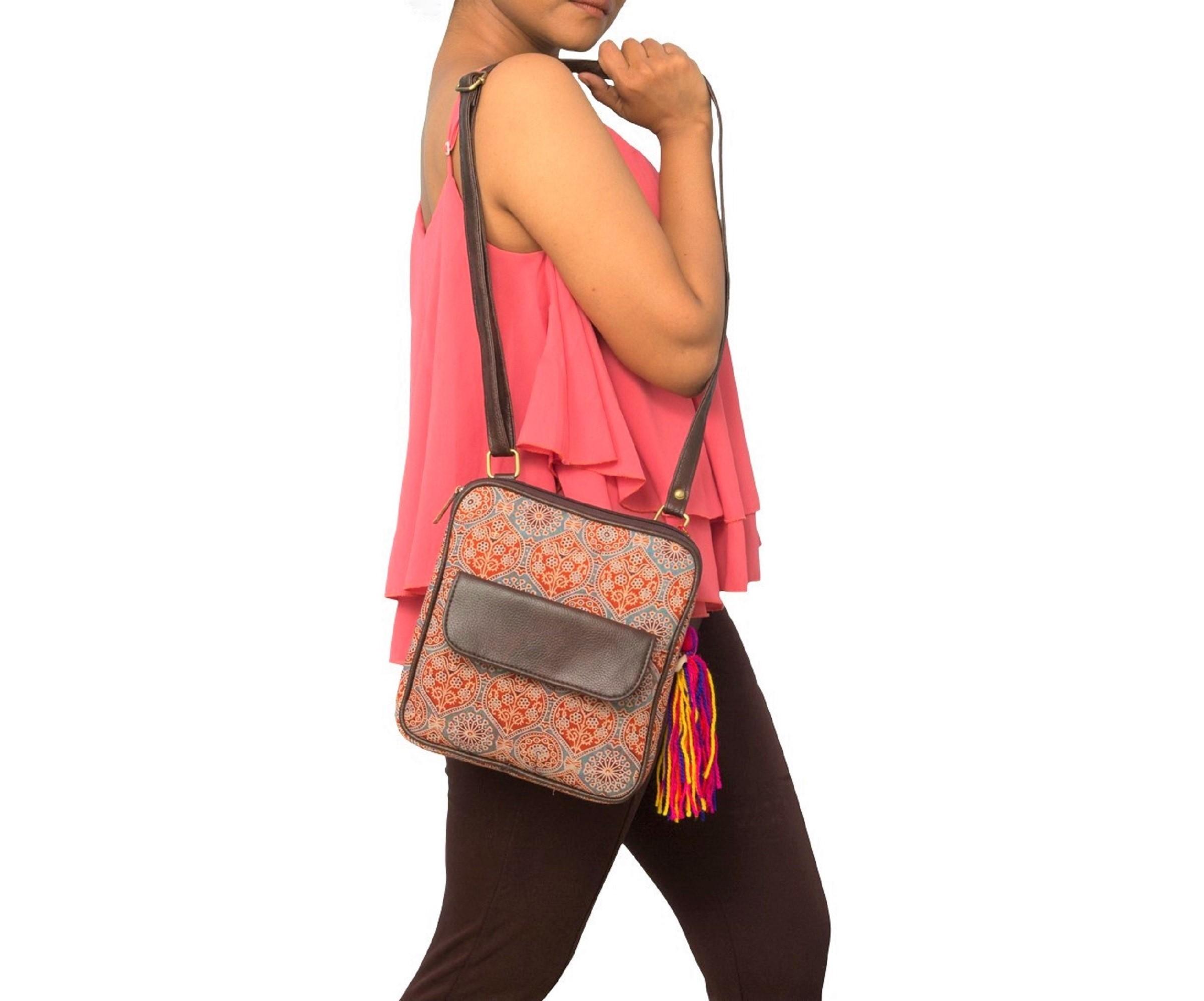 Vivinkaa | Vivinkaa ethnic faux leather cotton orange nice flap pocket sling bag