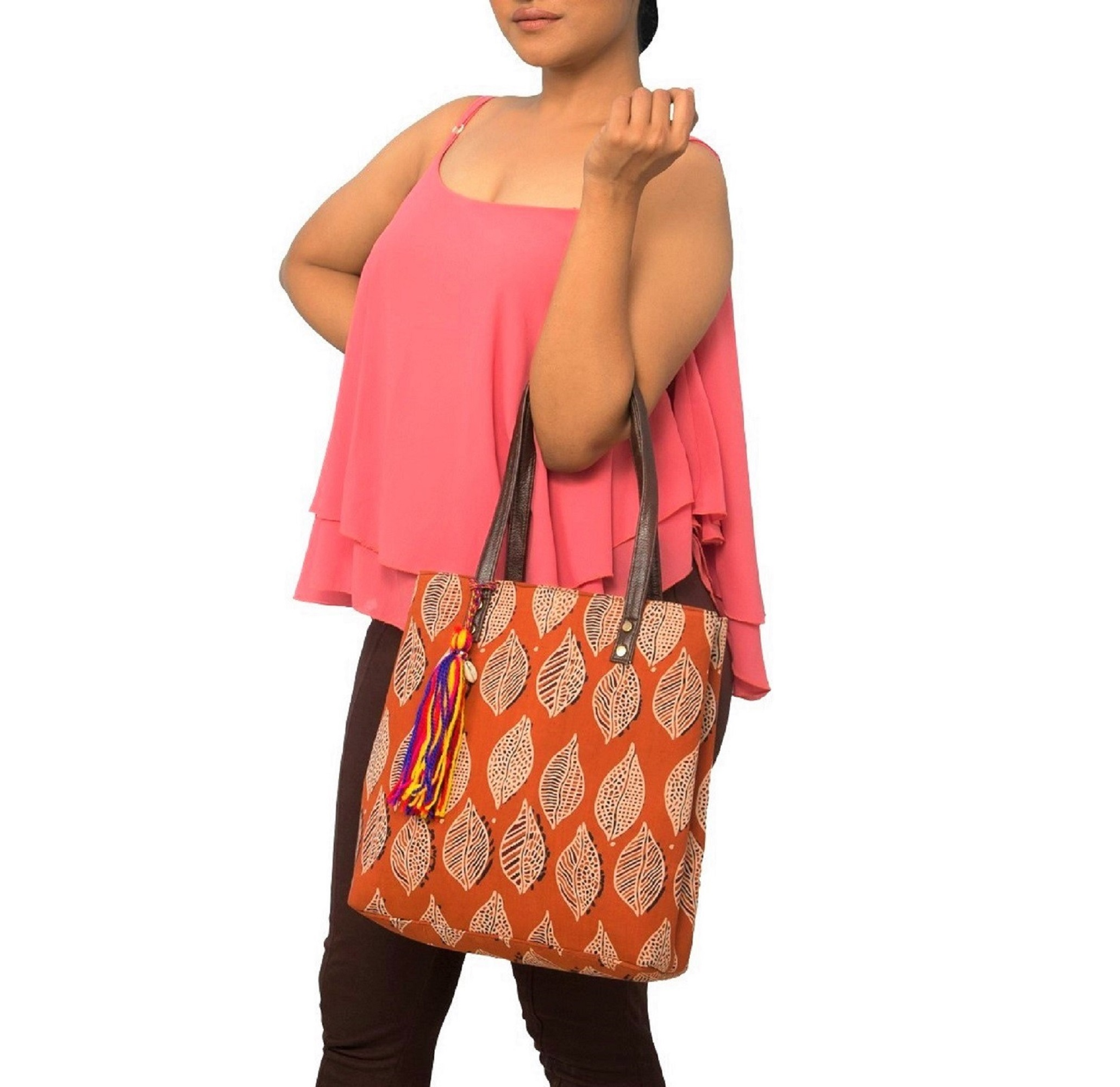 Vivinkaa | Vivinkaa ethnic faux leather cotton mini orange leaf tote bag