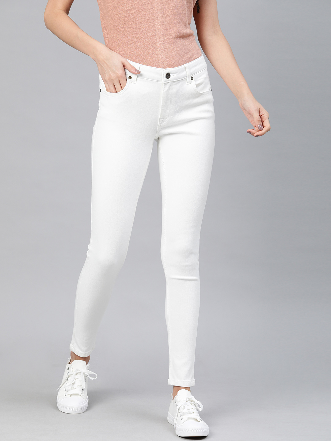 Enviously Young | Enviously Young Mid Rise White Jeans