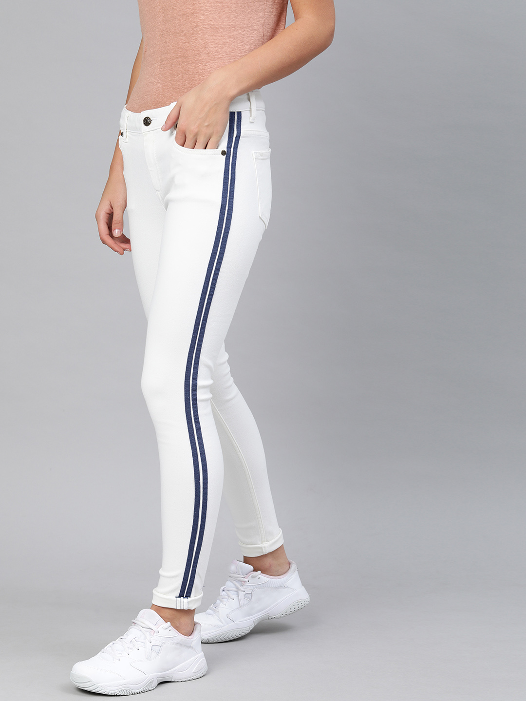 Enviously Young | Enviously Young Mid Rise White Jeans with Sidetape