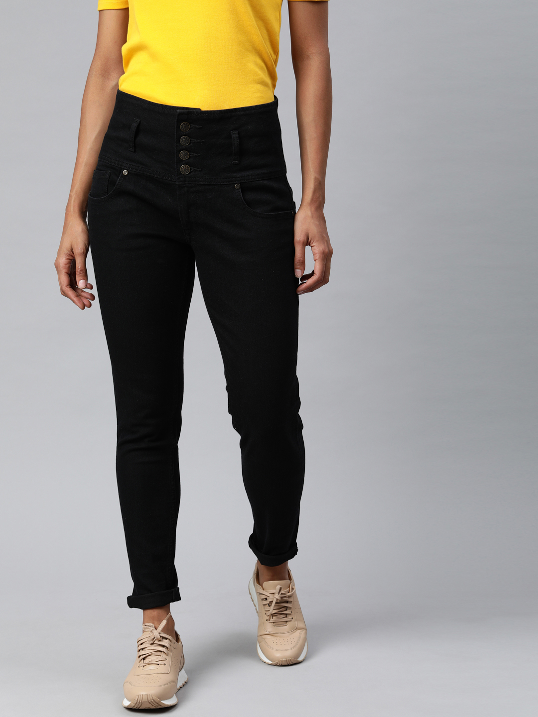 Enviously Young | Enviously Young High Rise 5 Button Black Jeans