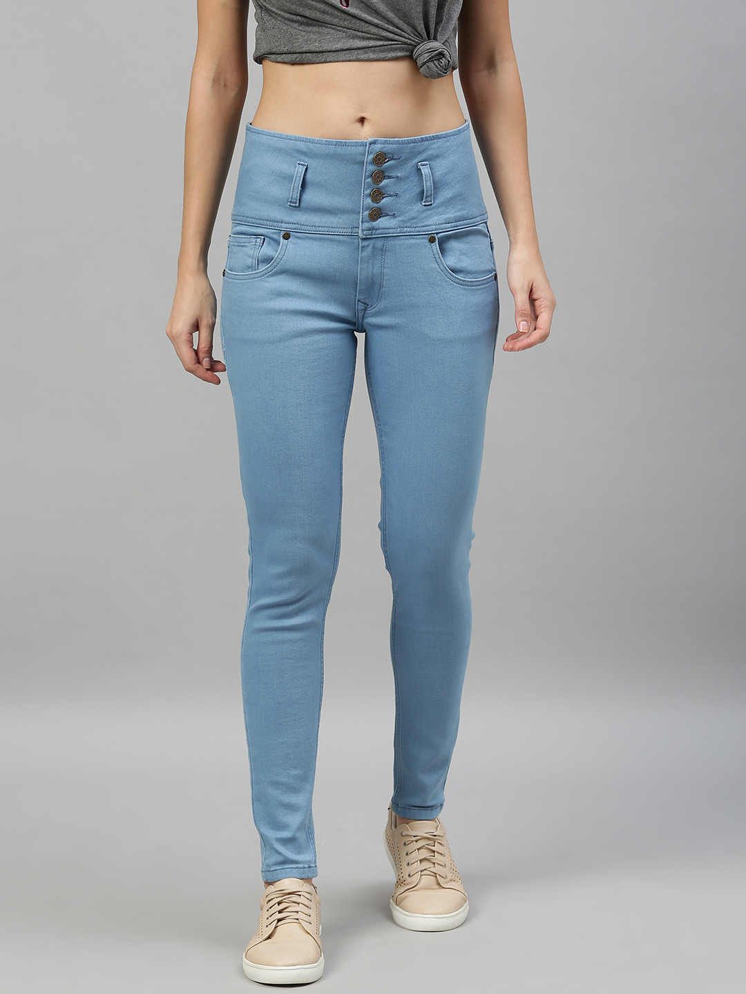 Enviously Young | Enviously Young High Rise 5 Button Ice Blue Jeans