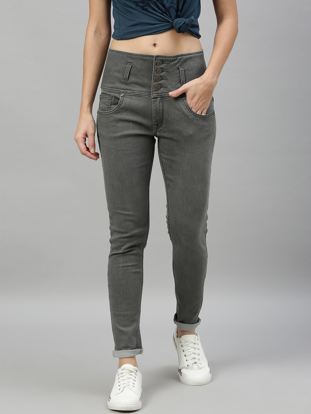 Enviously Young | Enviously Young High Rise 5 Button Grey Jeans