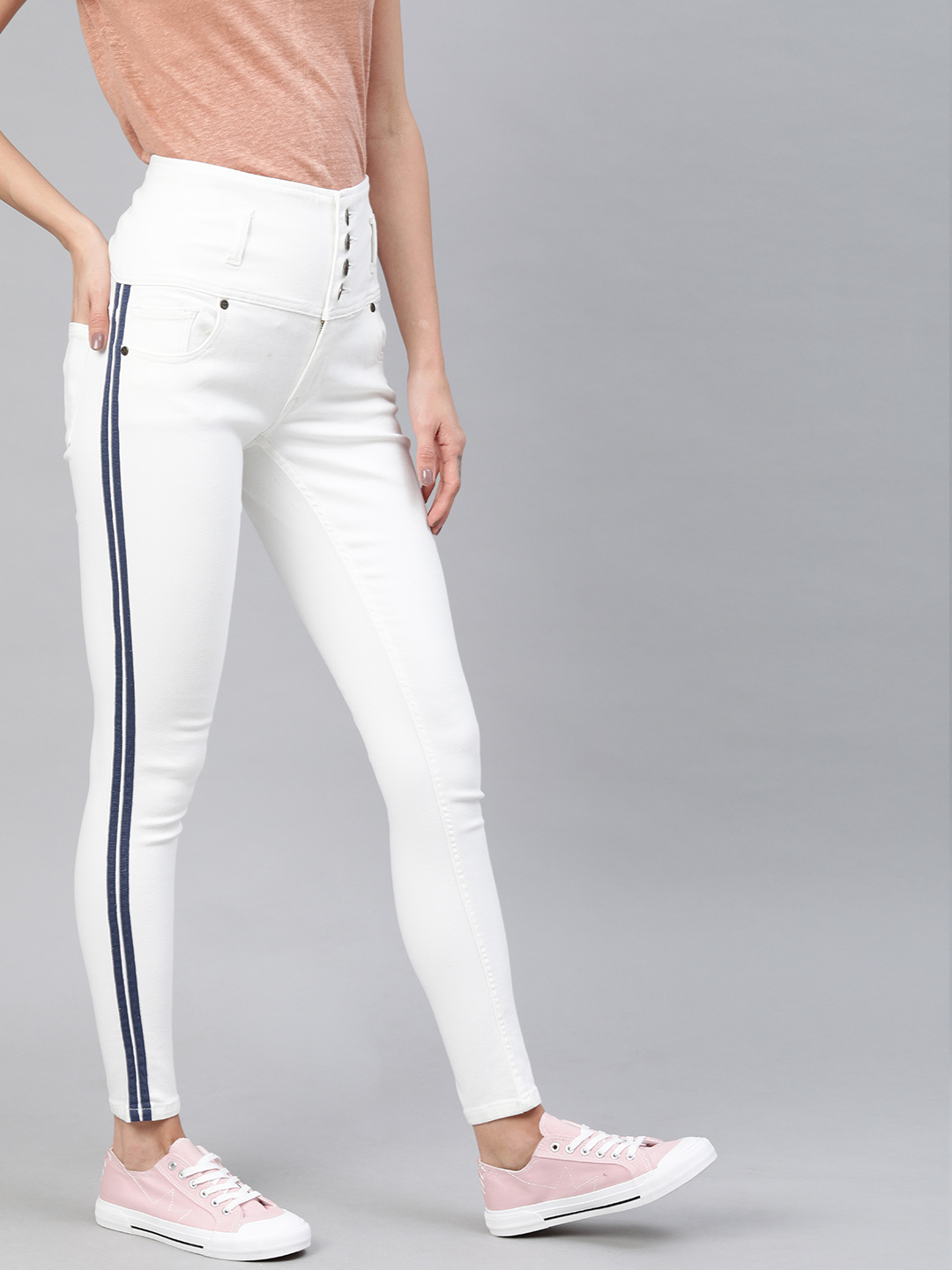 Enviously Young | Enviously Young High Rise 5 Button White Jeans with Sidetape