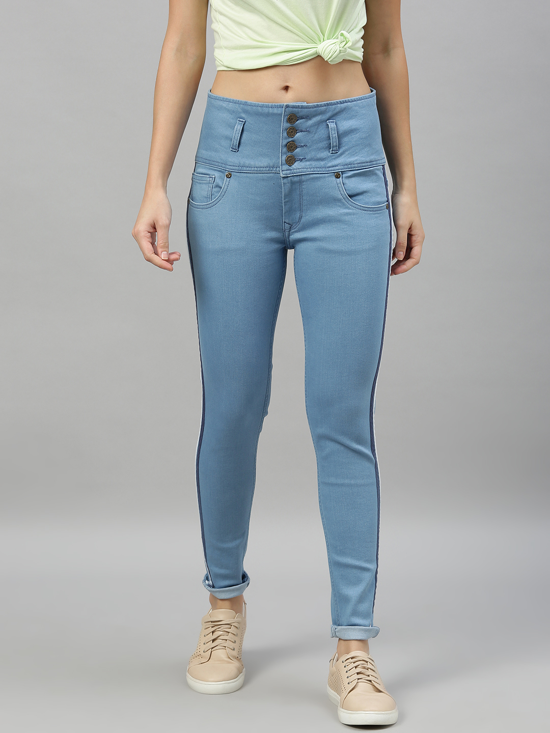 Enviously Young | Enviously Young High Rise 5 Button Ice Blue Jeans with Sidetape